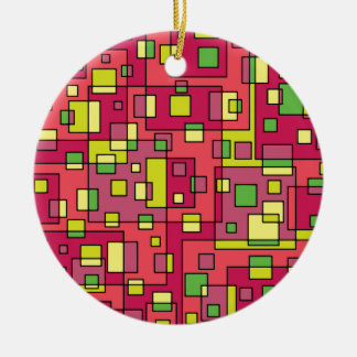 Pink square background ceramic ornament