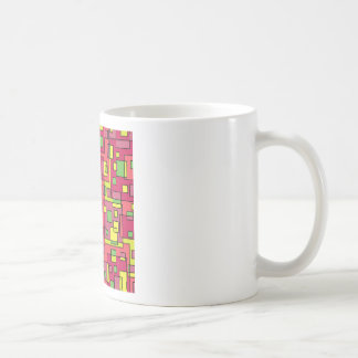 Pink square-background coffee mug