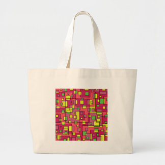 Pink square background large tote bag