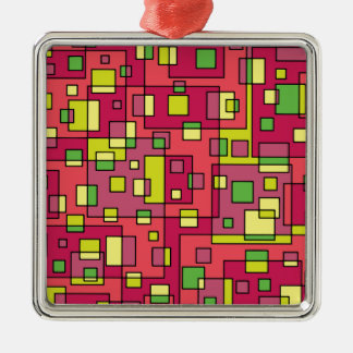 Pink square background metal ornament