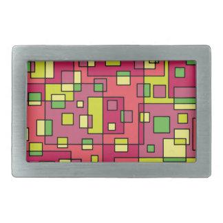 Pink square background rectangular belt buckle