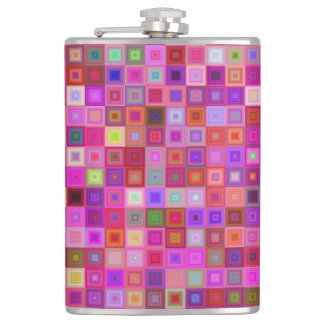 Pink square tiles hip flask