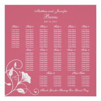 Pink Square Wedding Reception Seating Chart Poster