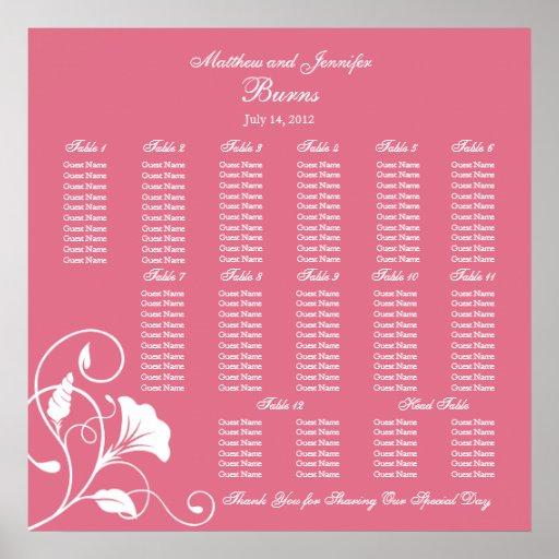 Pink Square Wedding Reception Seating Chart Print