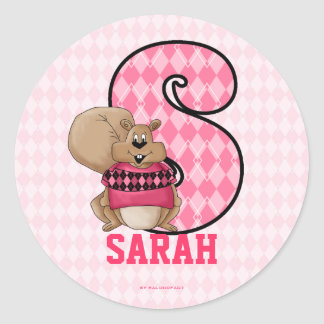"Pink Squirrel Monogram ""S"" Personalized Stickers"
