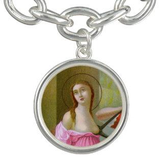 Pink St. Agatha (M 003) Charm Bracelet