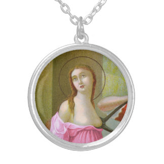 Pink St. Agatha (M 003) Silver Plated Necklace