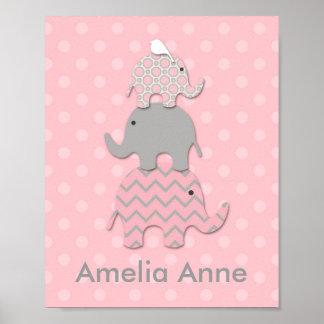 Pink Stacked Elephants Nursery / Room Wall Art