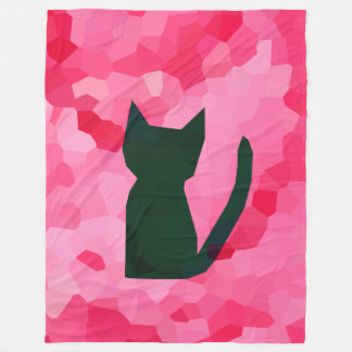 Pink Stained Glass Abstract Black Kitty Cat Fleece Blanket