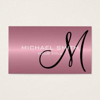 Pink Stainless Steel Metal Monogram Business Card