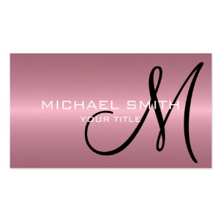 Pink Stainless Steel Metal Monogram Pack Of Standard Business Cards