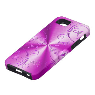 Pink Stainless Steel With Embossed Retro Flowers iPhone 5 Cover