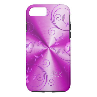 Pink Stainless Steel With Embossed Retro Flowers iPhone 7 Case