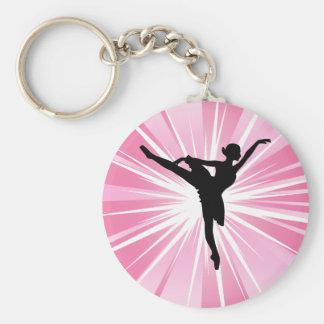 Pink Star Ballerina Basic Round Button Keychain