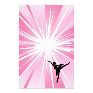 Pink Star Ballerina Stationery Paper
