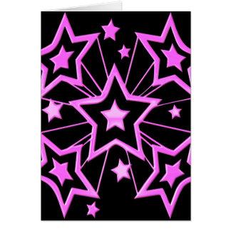 Pink Star Burst Greeting Card