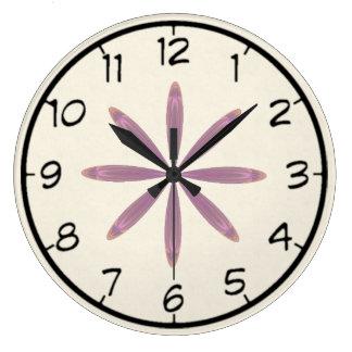 Pink Star Flower Kaleidoscope Mandala Large Clock