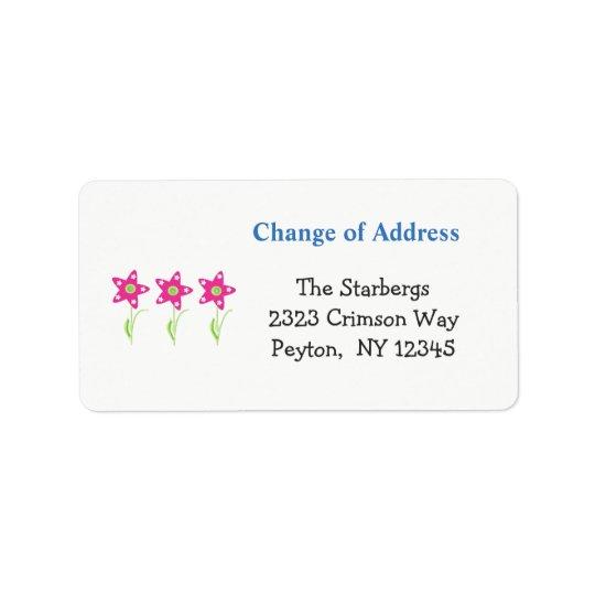 Pink Star Flowers Home Address Label