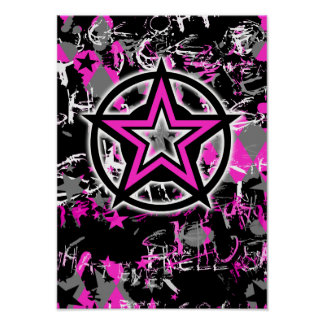 Pink Star Graphic Poster