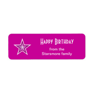 Pink Star 'Happy Birthday' text label small pink