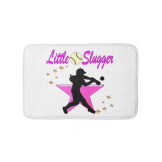 PINK STAR LITTLE SLUGGER SOFTBALL DESIGN BATH MAT