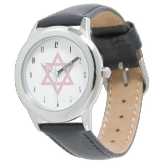 Pink Star of David-Judaism Wrist Watch