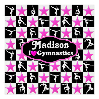 PINK STAR PERSONALIZED I LOVE GYMNASTICS POSTER