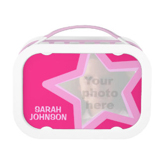 Pink star photo kids named lunch box