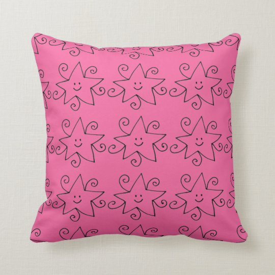 pink star print cushion