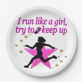 PINK STAR TRACK AND FIELD CHAMPION 9 INCH PAPER PLATE