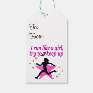 PINK STAR TRACK AND FIELD CHAMPION PACK OF GIFT TAGS
