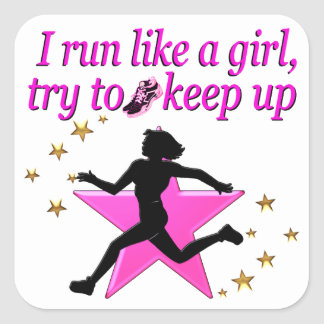 PINK STAR TRACK AND FIELD CHAMPION SQUARE STICKER