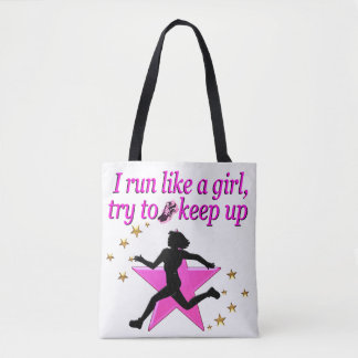 PINK STAR TRACK AND FIELD CHAMPION TOTE BAG