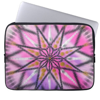 Pink Starburst Floral Mandala - love laptop sleeve