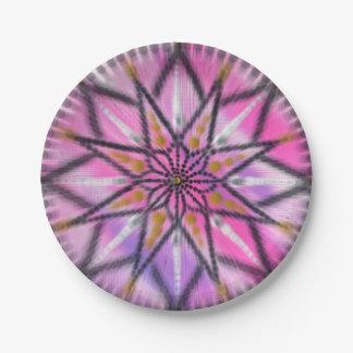Pink starburst floral mandala paper plates