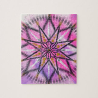 Pink starburst floral mandala puzzle