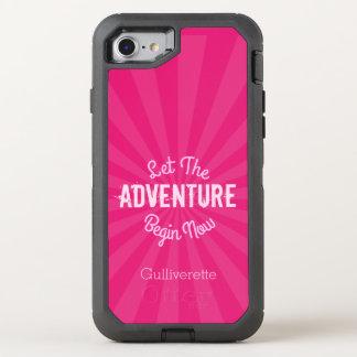 Pink Starburst Let The ADVENTURE Begin Now OtterBox Defender iPhone 7 Case