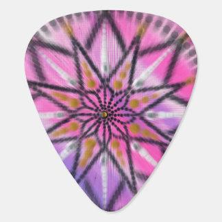 Pink Starburst Mandala guitar pick