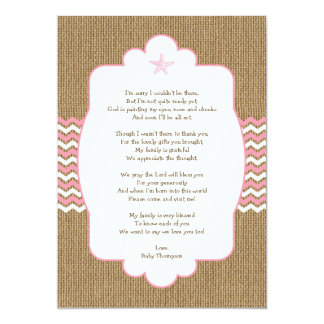 Pink Starfish girl baby shower thank you notes Card