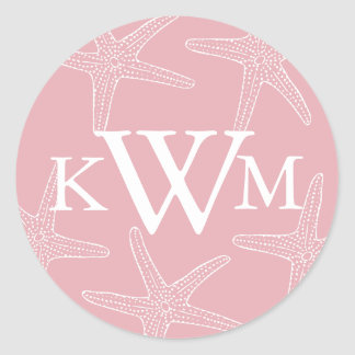 Pink Starfish Wedding Monogram Sticker