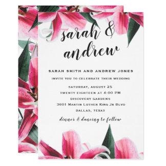 Pink Stargaze Lily Floral Wedding Invitation