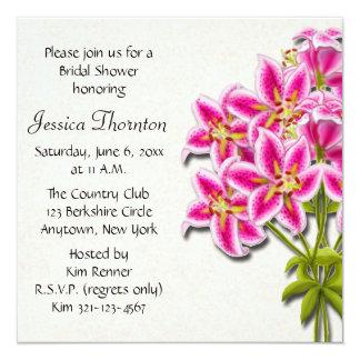 Pink Stargazer Lilies Bridal Shower Invitation
