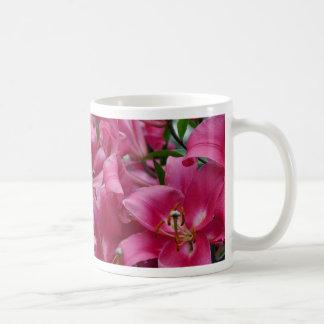 Pink stargazer lilies coffee mug