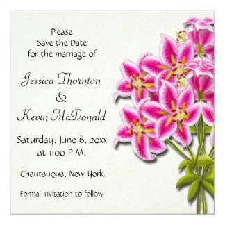 Pink Stargazer Lilies Save the Date Announcement
