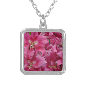 Pink stargazer lilies silver plated necklace
