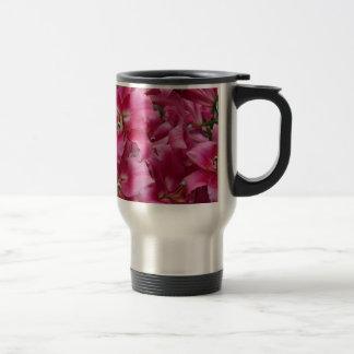 Pink stargazer lilies travel mug