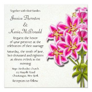 Pink Stargazer Lilies Wedding Invitation