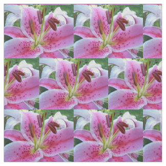 Pink Stargazer Lily Floral Fabric