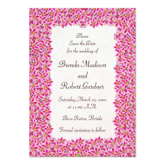 "Pink Stargazer Lily Garden Save the Date 5"" X 7"" Invitation Card"