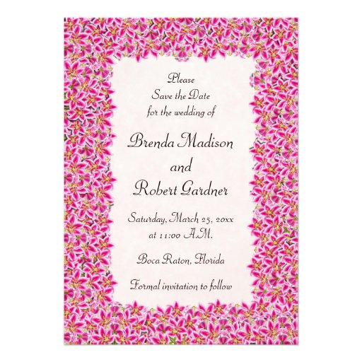 Pink Stargazer Lily Garden Save the Date Personalized Announcements
